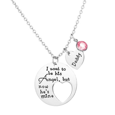 COLLANA I USED TO BE HIS ANGEL NOW HE'S MINE DAD MEMORIA PAPA' DONNA ET22