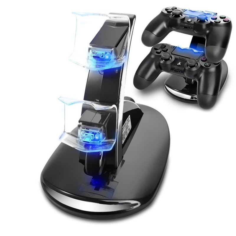 PS4 BASE RICARICA CARICA CONTROLLER PLAYSTATION 4 DOPPIO DOCK DUALSHOCK 4 STAND