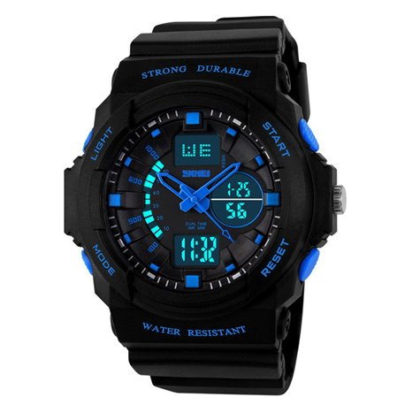 Orologio Da polso digitale Blu sportivo LED Impermeabile movimento quarzo ET63
