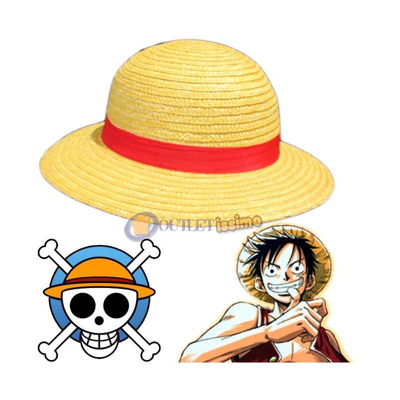 ONE PIECE CAPPELLO DI PAGLIA RUBBER MONKEY D. RUFY LUFFY PIRATI CON LACCETTO Y31