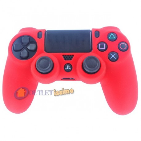 CUSTODIA COVER SILICONE CONTROLLER JOYSTICK PAD SONY PLAYSTATION 4 PS4 ROSSO