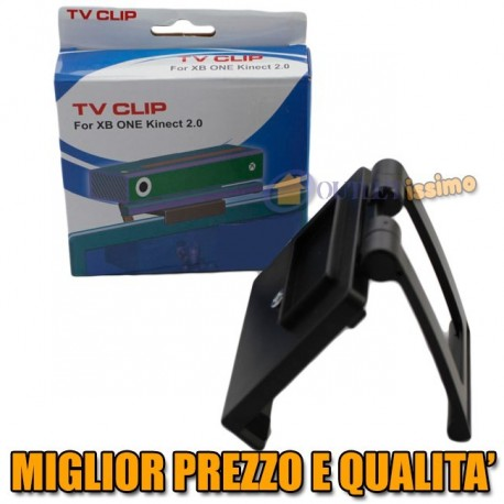 XBOX ONE STAFFA BASE SUPPORTO TV PER KINECT 2 SENSORE CAMERA CLIP REGOLABILE