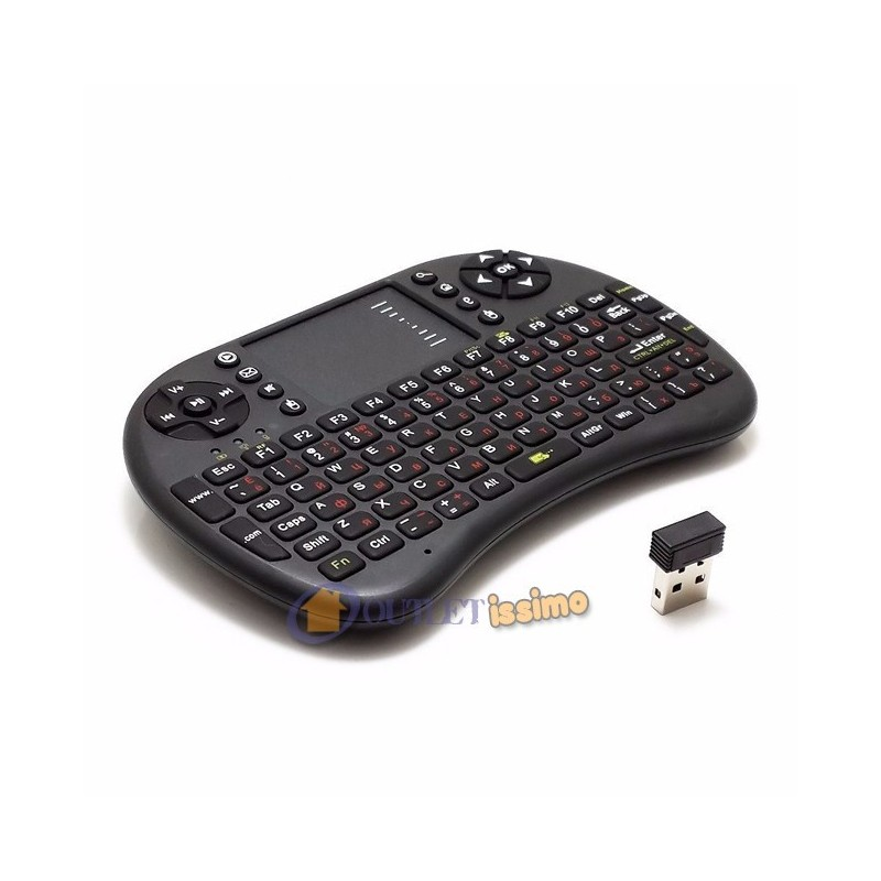 MINI TASTIERA ERGONOMICA WIRELESS 2.4 GHZ TOUCHPAD MOUSE PER RASPBERRY SMARTBOX TV MXQ CONSOLE MINI PC COMPUTER
