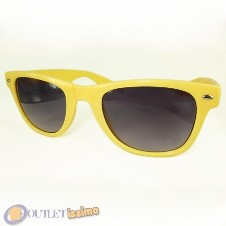 OCCHIALI DA SOLE GIALLI UNISEX LENTI SCURE SFUMATE FASHION UV400
