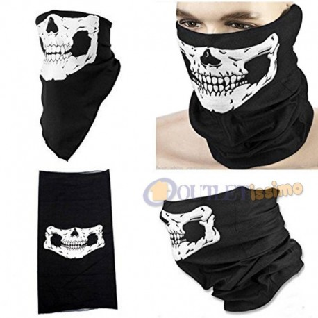BANDANA SCALDACOLLO SOTTO CASCO TESCHIO PER MOTO SOFTAIR SCI BICI GHOST SKULL