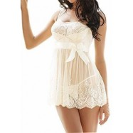 SEXY LINGERIE BABY DOLL BIANCO BABYDOLL INTIMO DONNA PIZZO CON TANGA G-STRING