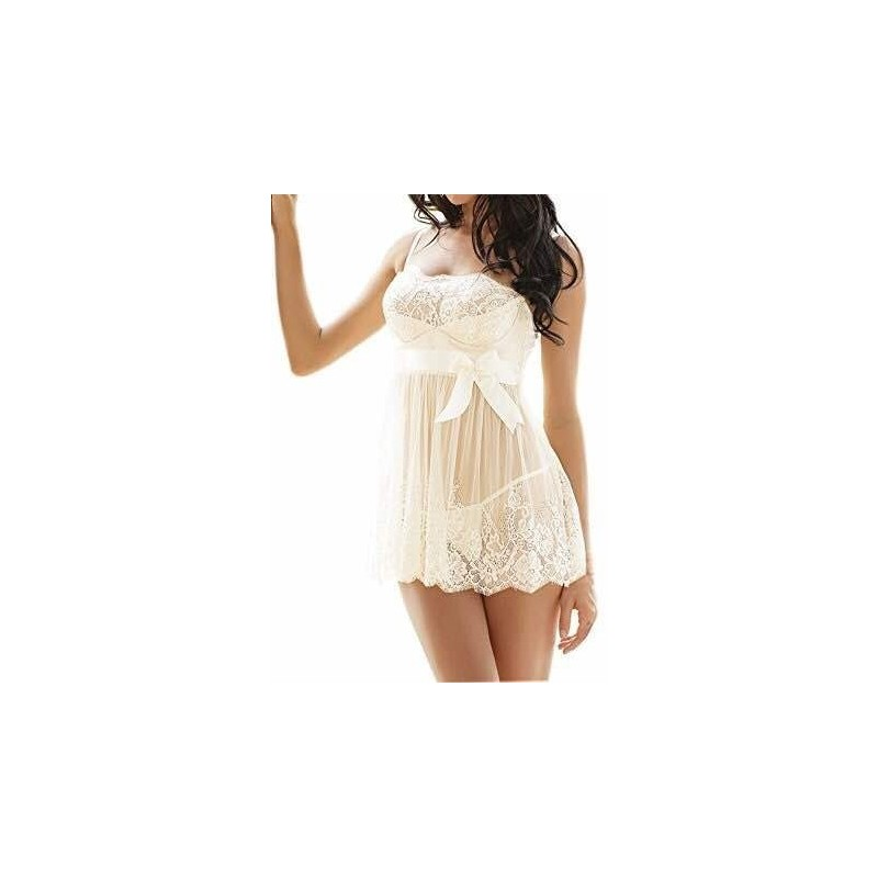 quality design d33dd fc15b SEXY LINGERIE BABY DOLL BIANCO BABYDOLL INTIMO DONNA PIZZO CON TANGA  G-STRING
